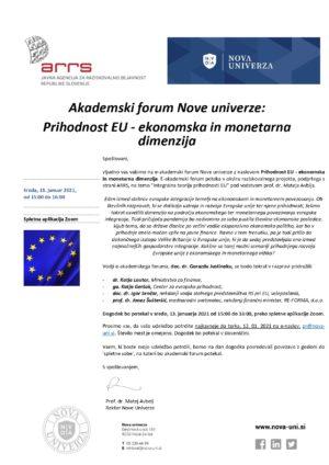 Akademski forum Nove univerze z naslovom: Prihodnost EU – ekonomska in monetarna dimenzija
