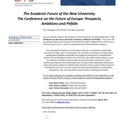 Academic Forum of the New University dedicated to the Conference on the Future of Europe: Prospects, Ambitions and Pitfalls